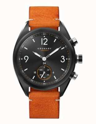 Kronaby Mens Apex 41 Bluetooth Black Dial, Brown Leather A1000-3116 S3116/1
