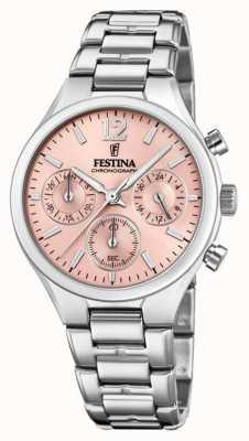 Festina Women's Boyfriend Chronograph Stainless Steel Pink Dial F20391/2