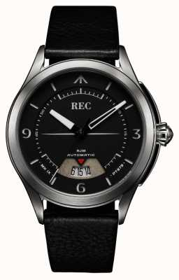 REC Spitfire Automatic Black Leather Strap RJM-01