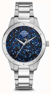 Harley Davidson Women's Crystal Set Blue Dial | Stainless Steel Bracelet 76L188