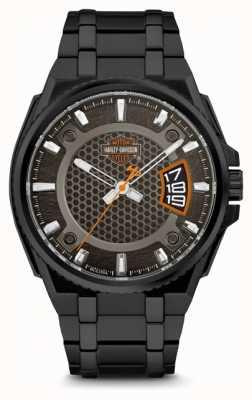 Harley Davidson Mens For Him   Black Dial   Black Stainless Steel Bracelet 78B151