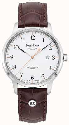 Bruno Sohnle Mens Hamburg Big | White Dial | Brown Leather Strap 17-13201-221