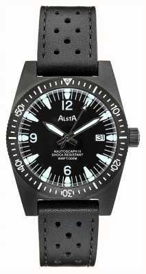 Alsta Nautoscaph III   Black Leather Strap   Black IP Case NAUTOSCAPH III