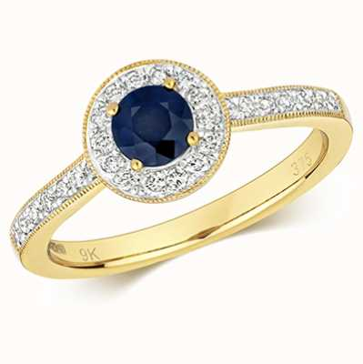 Treasure House 9k Yellow Gold Round Sapphire Diamond Cluster Ring RD414S/L
