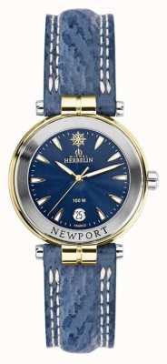 Michel Herbelin Womens Newport Blue Strap Gold Plated 14255/T35