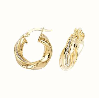 Treasure House 9k Yellow Gold Twist Hoop Earrings 10 mm ER1050-10