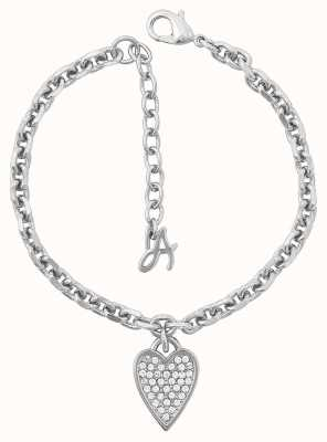"Adore By Swarovski Pointed Heart Charm Bracelet 6.5-8"" Rhodium Plated 5303083"