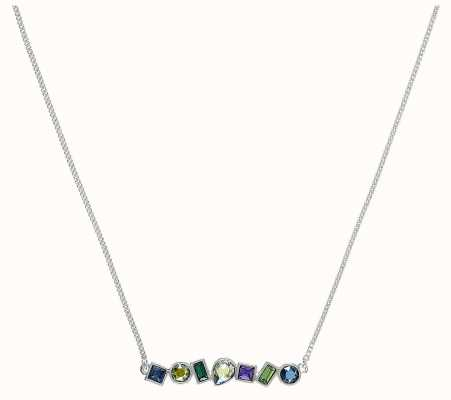 "Adore By Swarovski Mixed Crystal Bar Necklace 16-18"" Rhodium Plated 5375513"