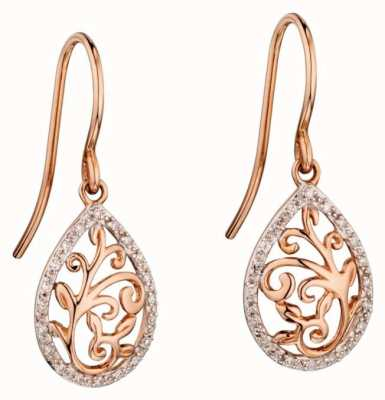 Elements Gold 9ct Rose Gold Baroque Diamond DropEarrings GE2137