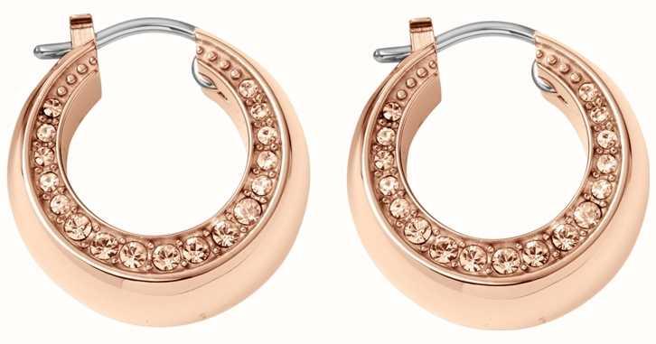 DKNY Rose Gold Tone Cubic Zirconia Hoop Earrings NJ1795040