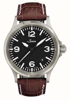 Sinn 556 A Sports Sapphire Glass Brown Embossed Leather 556.014 BROWN ALLIGATOR STYLE WHITE STITCH