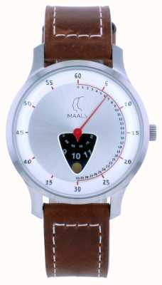 Maals Jump Over The Moon Brown Leather Strap JOTMBRUSHEDSTEEL