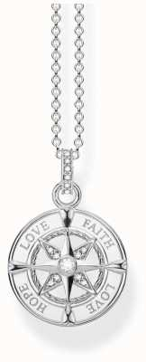 Thomas Sabo | Sterling Silver  | 'Love,Hope,Faith' Compass Necklace | KE1849-051-14-L45V