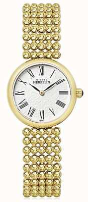 Michel Herbelin Womens 27mm Gold Plated Bracelet Pearl Dial 17483/BP08