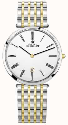 Michel Herbelin Mens Epsilon Two Tone Bracelet White Dial 19416/BT11
