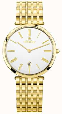 Michel Herbelin Mens Epsilon Gold Plated Bracelet White Dial 19416/BP01N
