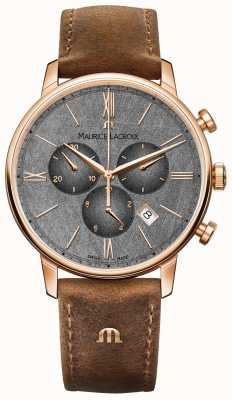 Maurice Lacroix Eliros Chronograph Textured Dial Brown Leather Strap EL1098-PVP01-210-1