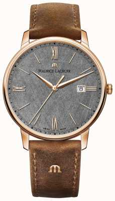 Maurice Lacroix Eliros Date Textured Dial Brown Leather Strap EL1118-PVP01-210-1