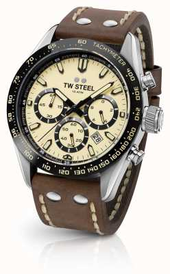 TW Steel | Gents Brown Leather Strap | Cream Chronograph | CHS2