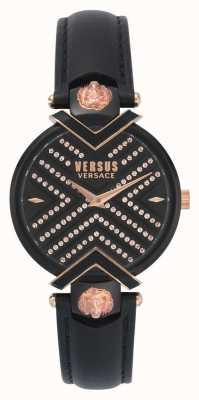 Versus Versace | Ladies Black Leather Strap | Patterned Dial | VSPLH1519