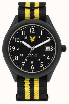 Lyle & Scott Mens Stealth Automatic Black Yellow Nato Strap Black Dial LS-6006-01