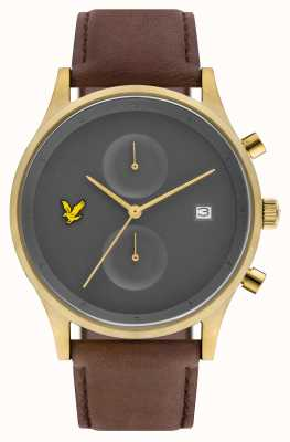 Lyle & Scott Mens The Hope Chronograph Brown Leather Strap Grey Dial LS-6007-07