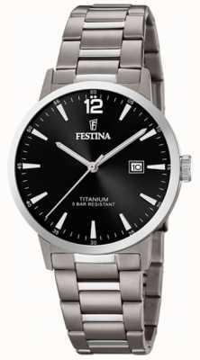 Festina | Mens Titanium Watch | Black Dial | Titanium Bracelet | F20435/3