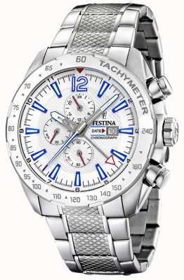 Festina   Mens Chronograph & Dual Time   Silver Dial  Steel Bracelet F20439/1