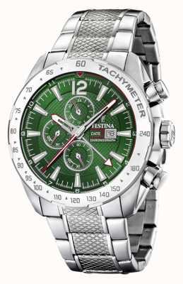 Festina | Mens Chronograph & Dual Time | Green Dial | Steel Bracelet F20439/3