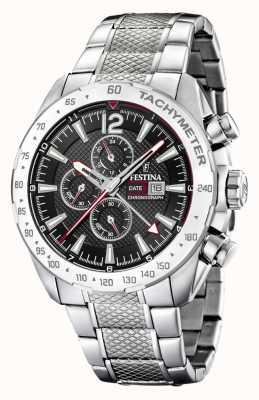 Festina | Mens Chronograph & Dual Time | Black Dial | Steel Bracelet F20439/4