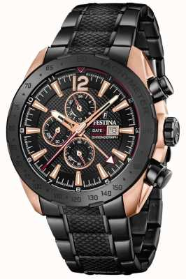 Festina | Mens BlackRose Plated Chronograph | Steel Bracelet | F20481/1