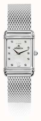 Michel Herbelin Womens Esprit Art Deco Steel Mesh Mother Of Pearl Dial 17478/59BM