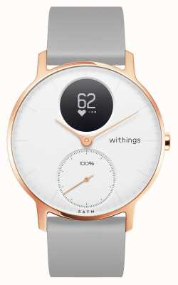 Withings Steel HR 36mm Rose Gold White Dial Grey Silicone Wristband HWA03B-36WHITE-RG-S.GREY-ALL-INTER
