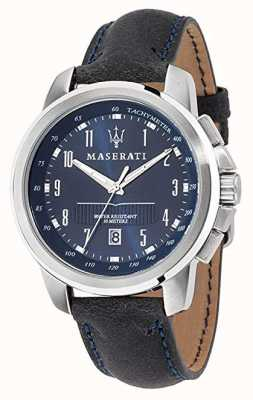 Maserati Successo Blue Dial Black Leather Strap R8851121003