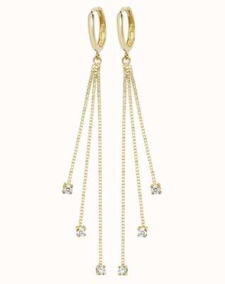 Treasure House 9k Yellow Gold Drop Chain Cubic Zirconia Earrings ER1120