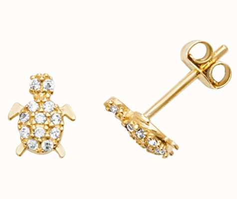 Treasure House 9k Yellow Gold Cubic Zirconia Turtle Stud Earrings ES599