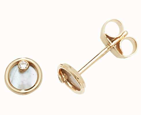 Treasure House 9k Yellow Gold Mother Of Pearl Stud Earrings ES619