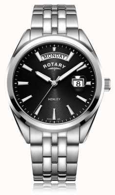 Rotary | Mens Henley | Black Dial | Stainless Steel Bracelet | GB05290/04
