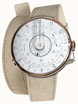 Klokers KLOK 08 White Watch Head Grey Alcantara 420mm Double Strap KLOK-08-D1+KLINK-02-420C6