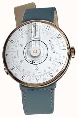 Klokers KLOK 08 White Watch Head Blue Jean Strait Single Strap KLOK-08-D1+KLINK-04-LC10