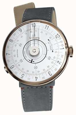 Klokers KLOK 08 White Watch Head Grey Alcantara Strait Single Strap KLOK-08-D1+KLINK-04-LC11