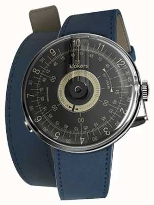 Klokers KLOK 08 Black Dial Indigo Blue 420MM Double Strap KLOK-08-D3+KLINK-02-420C3