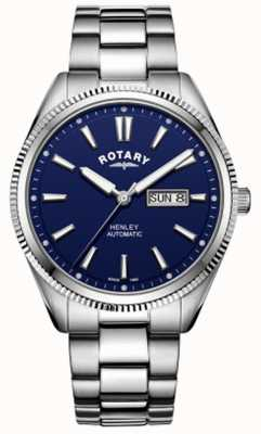 Rotary | Mens Henley | Serrated Bezel | Blue Dial | Stainless Steel GB05380/05