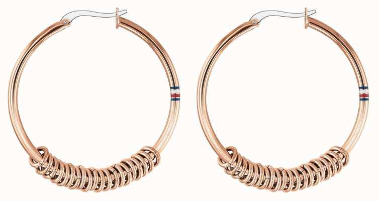 Tommy Hilfiger Womens Rose Gold Logo Hoop Earrings 2780216