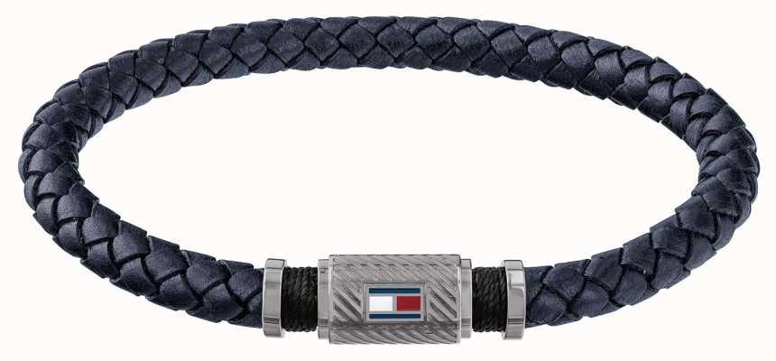 Tommy Hilfiger Mens Gun Metal Tube Magnet Blue Braided Leather Bracelet 2790083