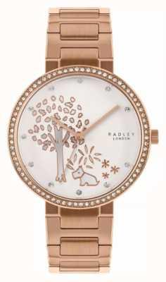 Radley   Womens Rose Gold Steel Bracelet   White Tree Motif Dial   RY4388