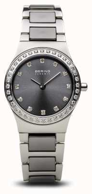 Bering | Womens Ceramic Polished Silver | Crystal Set | Grey Dial | 32426-703