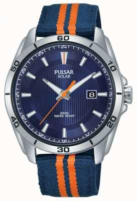 Pulsar | Mens Blue Dial | Blue/Orange Fabric Strap | PX3175X1