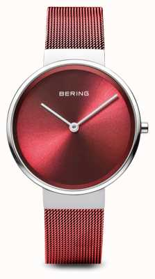 Bering Womens | Classic | Red PVD Plated Steel Mesh Bracelet 14531-303