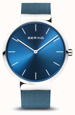 Bering Mens | Classic | Blue PVD Plated Steel Mesh Bracelet 16540-308